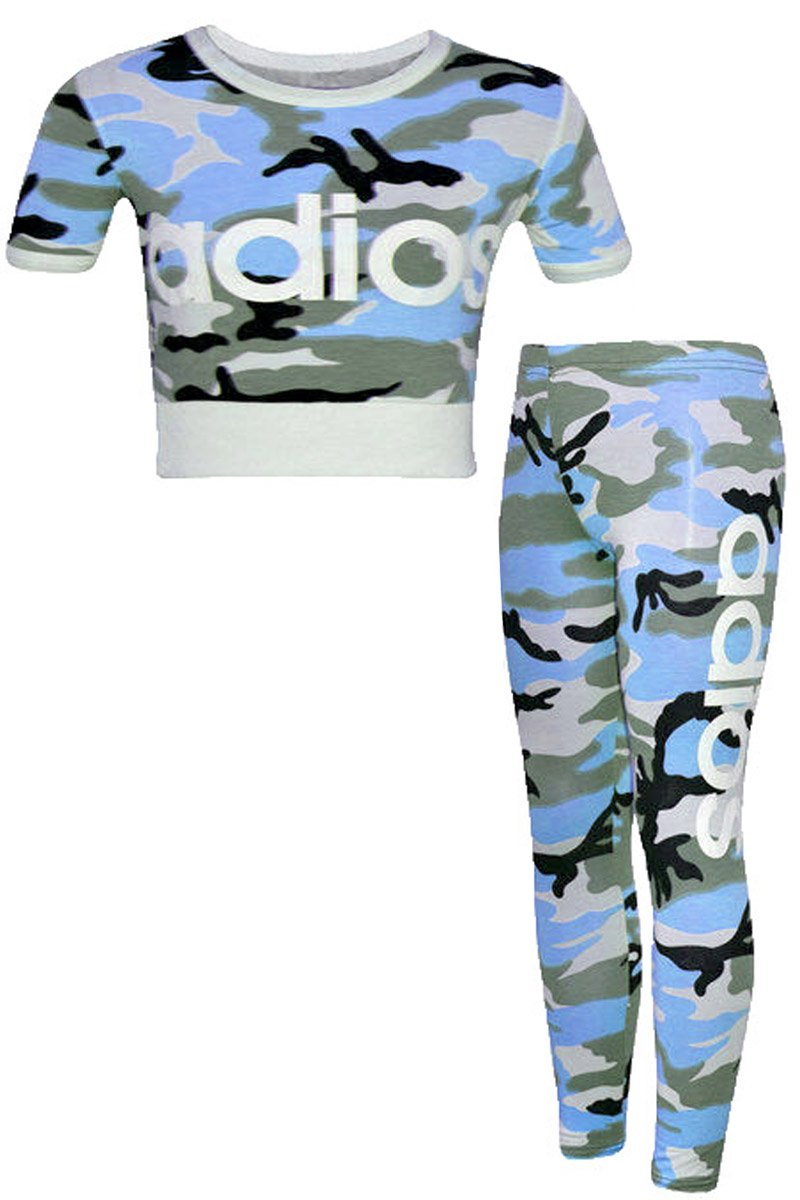 FAST TREND CLOTHING Kids Girls Adios Camouflage Military Army Crop Top & Legging Set Age: 7-13 Years by Original