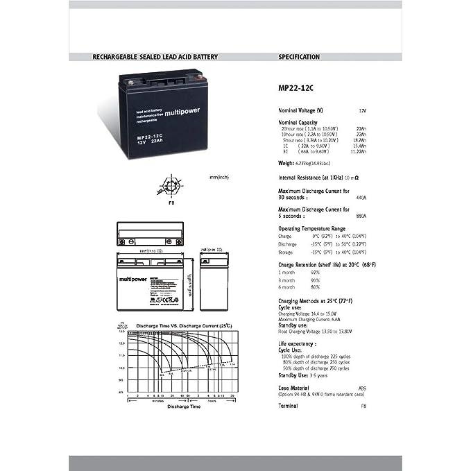 Powery Recambio de Batería para Carro de Golf Sillas de ruedas Autocaravanas Scooter eléctrico 12V 22Ah (ciclo profundo): Amazon.es: Electrónica