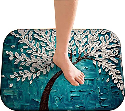 Art Rug Abstract Oil Paintings Bath Mat Non-slip Indoor Modern Bath Rugs Bathroom Shower Mats Carpets Suitable for Colorful Bedroom Decor Nursery Tree Rug by Lovins Tree (15.8x 24-Inches)