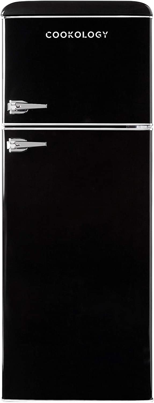 Black Cookology 1950s Retro Fridge Freezer 148cm High x 55cm wide
