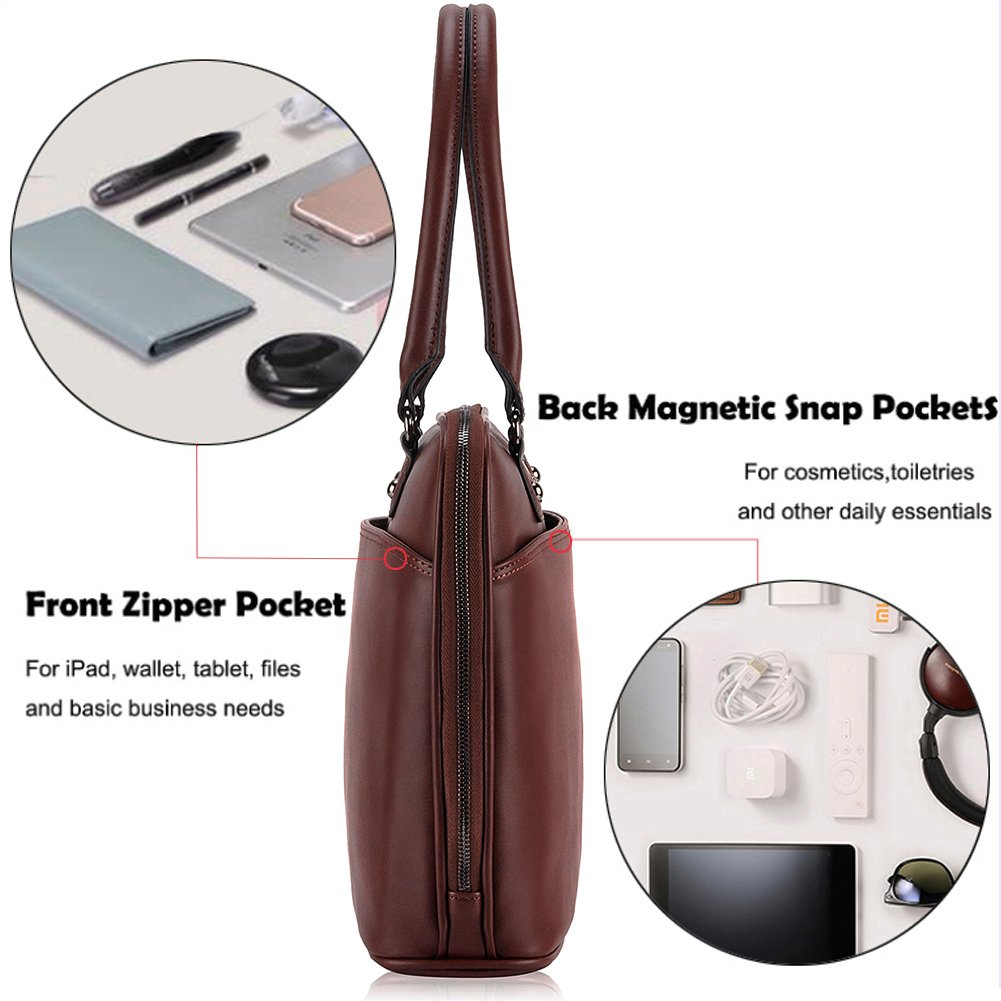 Laptop Bag for Women,15.6 Inch Laptop Tote Bag for Bussiness Work,Most Convenient Full Open Zipper Design[L0009/Coffee] by EDODAY (Image #5)