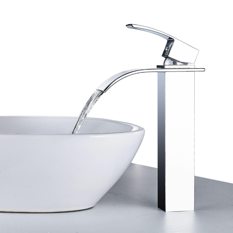 BONADE Schwarz Bad Wasserfall Wasserhahn Einhebelmischer Waschbeckenarmatur Waschtischarmatur Waschtischbatterie Badarmatur Armatur Mischbatterie Others