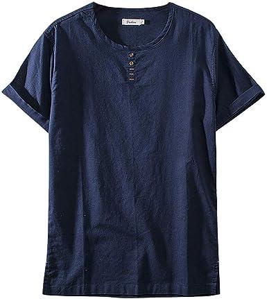 Camisas Casual Manga Corta Lino Slim Fit Camisas Beach Hombre Camisa de Lino Slim Fit Verano Elegante Casual Mangas Largas Camisas Playa Regular Fit Hombre Color Puro Clásico Marina Militare 3XL: Amazon.es: