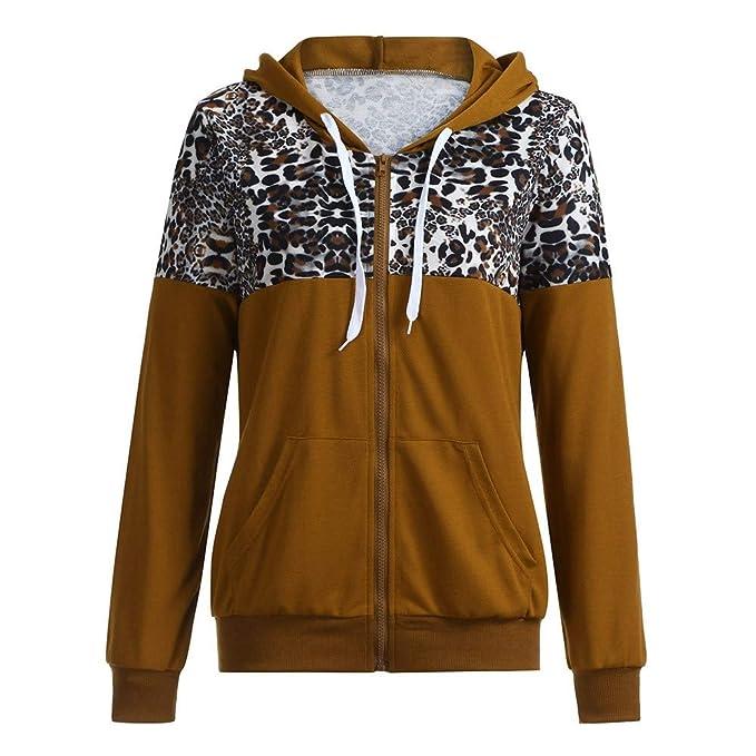 Zolimx Damen Mode Leopard Print Sweartshirt Jacke