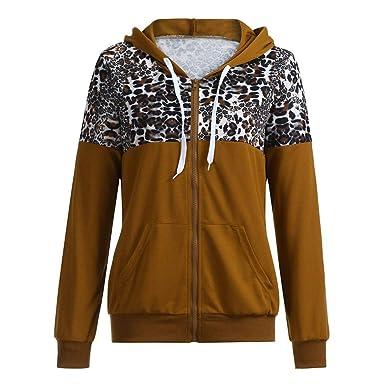 Geili Damen Hoodie mit Kapuze Sweatshirt Zip Jacke Leopard Drucken Patchwork Kapuzenjacke Kapuzenpullover mit Taschen Frauen Herbst Große Größen