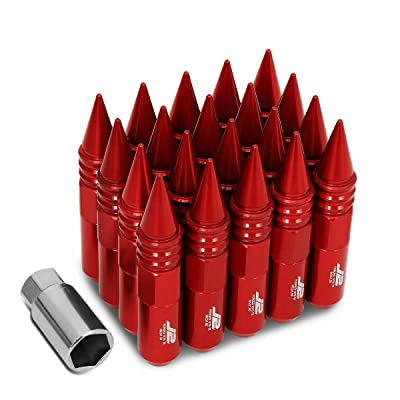 J2 Engineering LN-T7-016-15-RD Red 7075 Aluminum M12X1.5 20Pcs L: 107mm Spiky Cap Lug Nut w/Socket Adapter: Automotive
