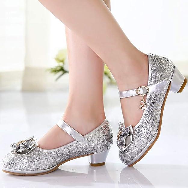 Zapatos de Lentejuelas de Niña Zapatos de Tacón Alto de Princesa Zapatos de Fiesta de Niños