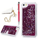 clear back blue bumper iphone5s - iPhone 5 5S Case, iPhone SE Case Bling Sparkle Glitter Powder Quicksand Star Liquid Shiny Clear Hard PC Shell Cute Heart Flowing Liquid Cover Skin with Bowknot Dust Plug & Pen by YOKIRIN, Hot Pink