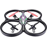 Wltoys V333 RC Quadcopter Shining LED Drone Headless Mode Hover 3D Rolling 4CH 2.4G 6-Axis Gyro with LED Light, Black