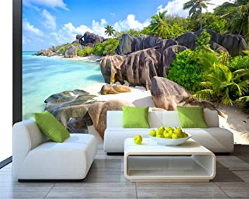 Amazon Com Wallpaper Beach Coconut Tree Stone Background Wallpaper Living Room Bedroom House Decoration Tv 3d Wallpaper Home Improvement