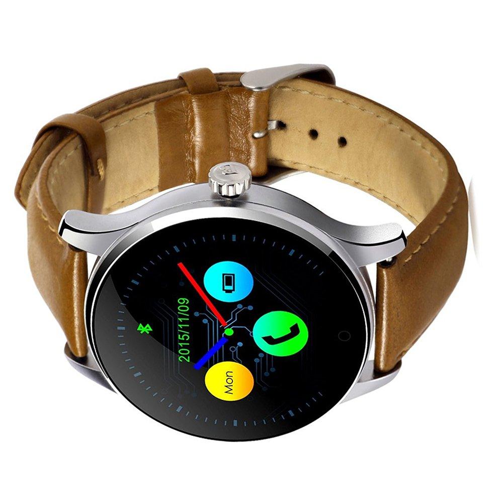 k88h reloj inteligente - TOOGOO (R) k88h Bluetooth Smart reloj pulsómetro con banda de cuero reloj de pulsera para IOS y Android negro + piel banda: ...