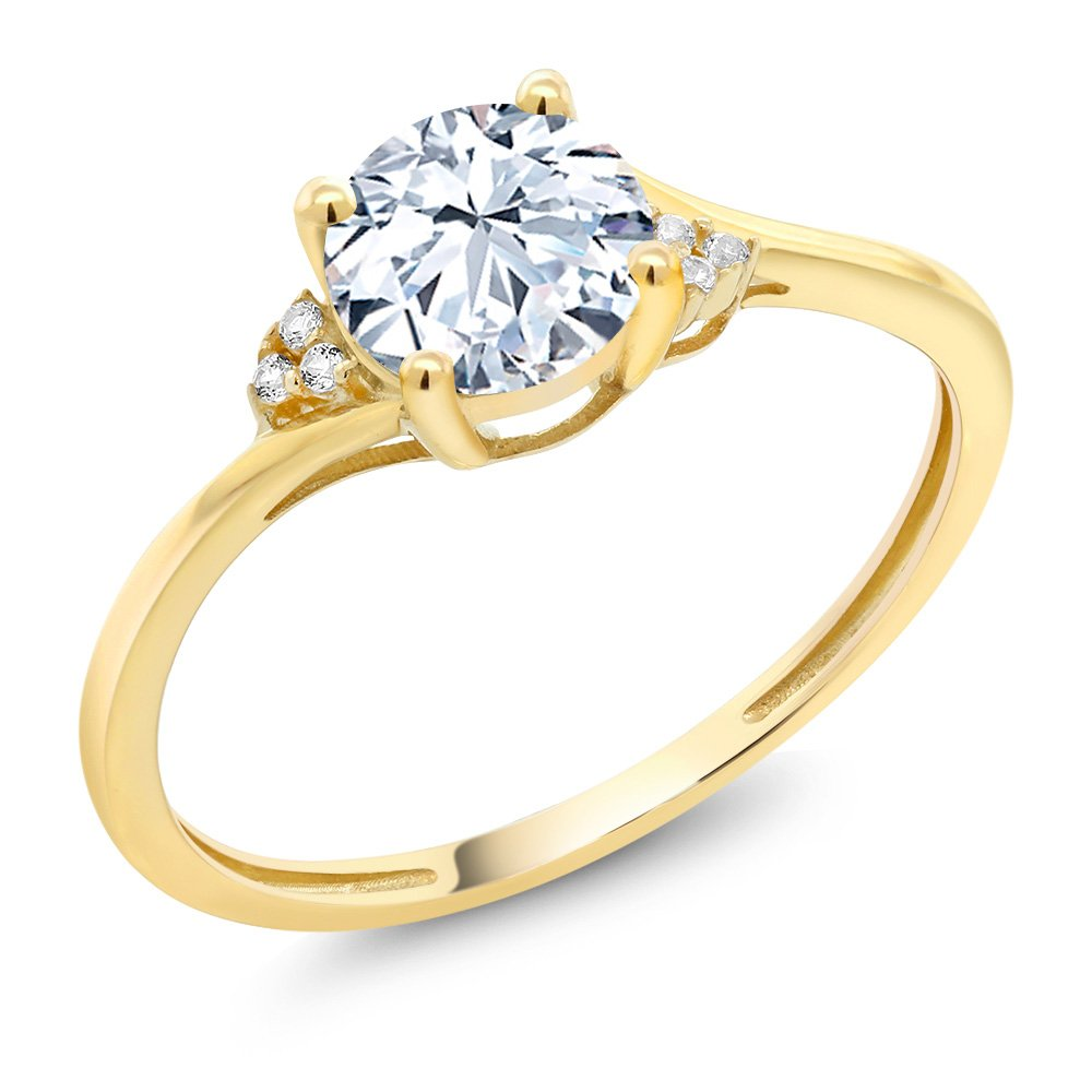 10K Yellow Gold Diamond Accent Engagement Ring with 6mm 1.25 Ct Round Hearts & Arrows White Created Sapphire