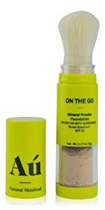 On the Go Mineral Powder Brush On Sunscreen (Tan) by Au Natural Skinfood | Broad Spectrum SPF 25 UVA/UVB Protection | Oil-free; Reef Safe; Translucent Tinted Sun Safety for Men, Women, and Children