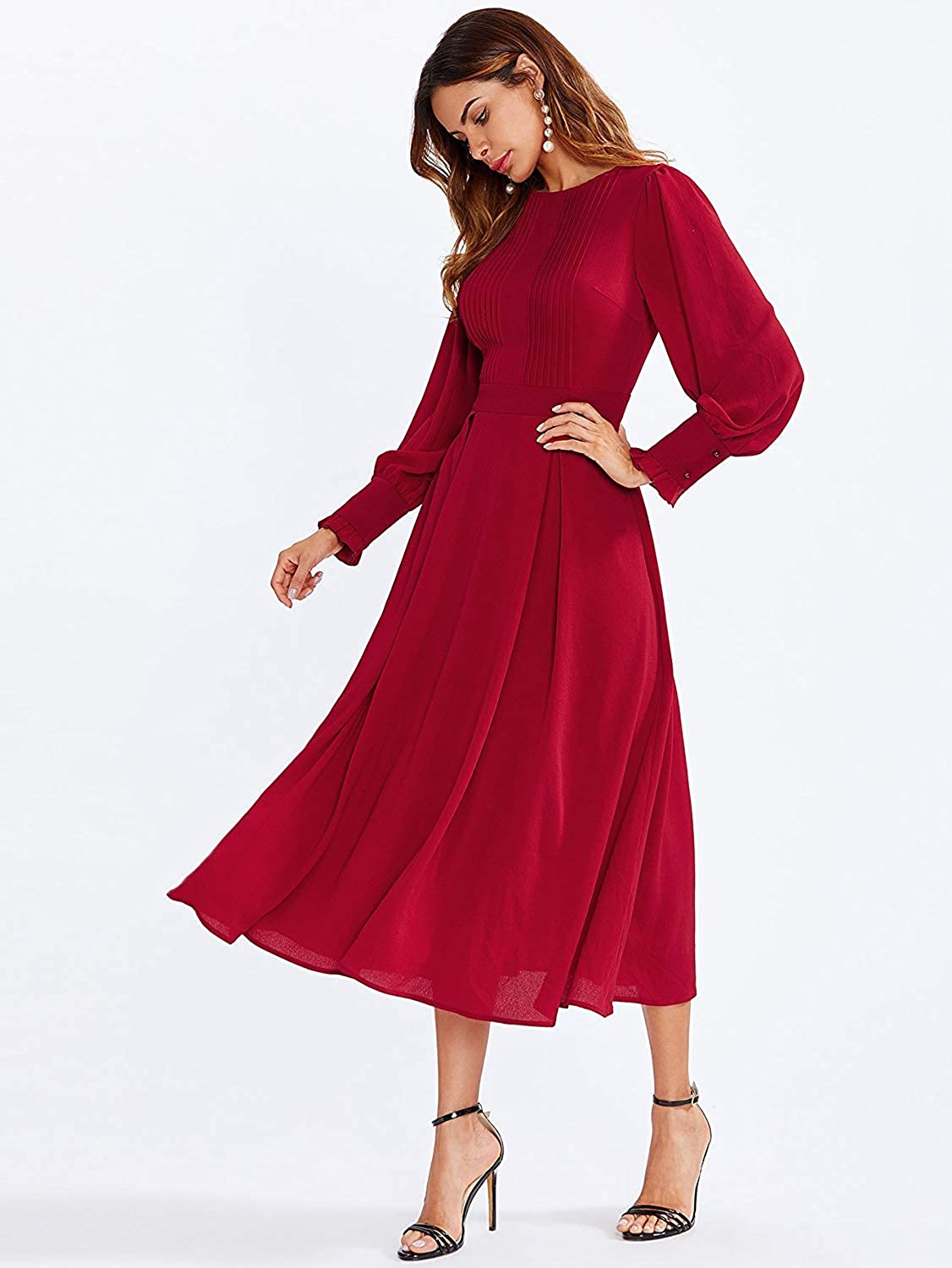 1930s Day Dresses, Afternoon Dresses History Milumia Womens Elegant Frilled Long Sleeve Pleated Fit & Flare Dress $36.99 AT vintagedancer.com