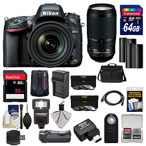 UPC 689466725452, Nikon D610 Digital SLR Camera with 24-85mm, FX-Format Sensor & 70-300mm VR Lenses, WU-1b, Bag & 32GB Card with 64GB Card + Flash + Grip + Batteries & Charger + Filters + Remote Kit