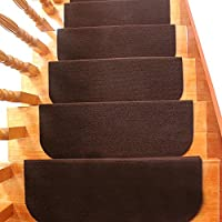 yazi Carpet Stair Tread with Adhesive Padding Easy to Clean Rubber Non-slip Non-skid Backing Area Rug 31.5 x 9 inch Set of 13