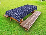 Lunarable Nautical Outdoor Tablecloth, Seahorse Vertical Design Swimming Vacation Paper Sailboat Silhouette Travel, Decorative Washable Picnic Table Cloth, 58 X 84 inches, Dark Blue White