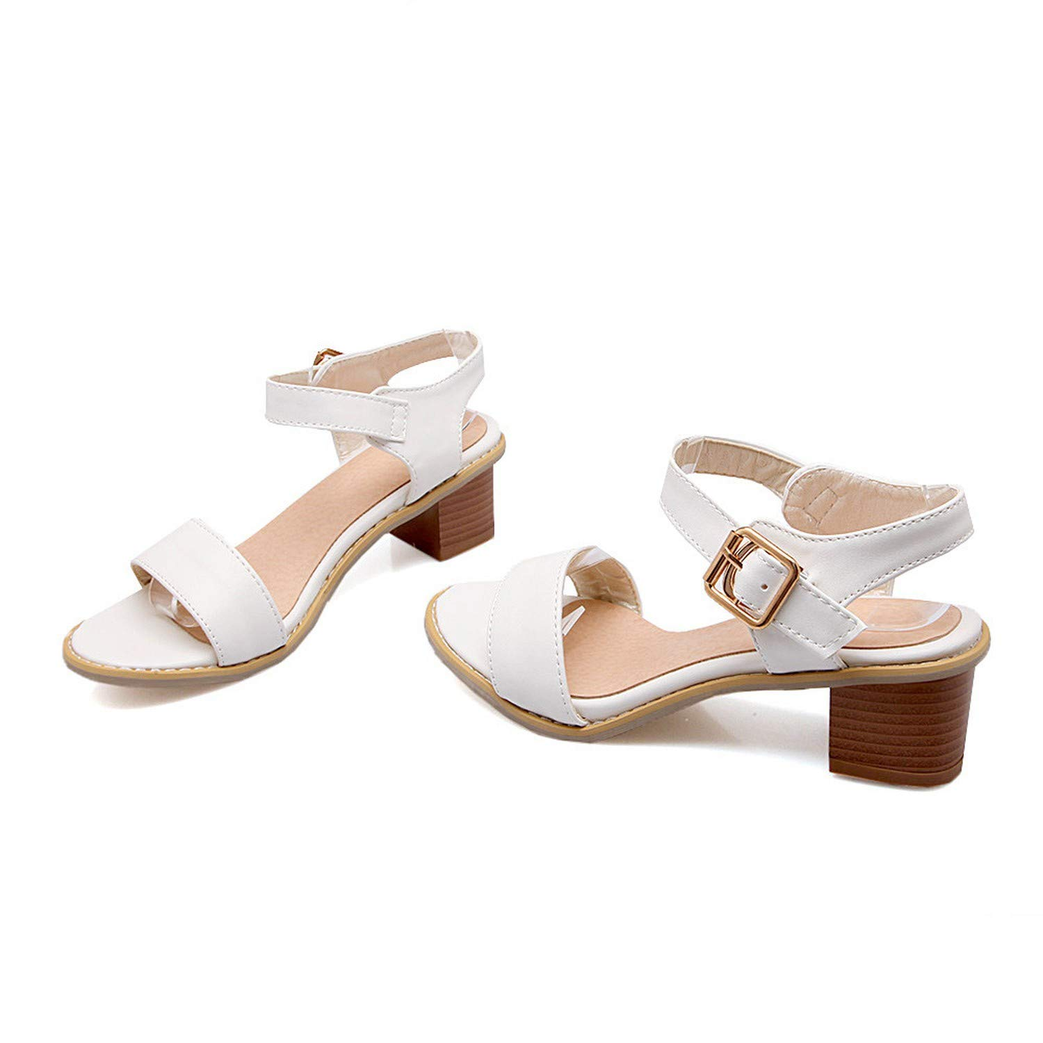 Women Sandals Simple Buckle Shoes Solid Casual Comfortable Square Heel Shoes