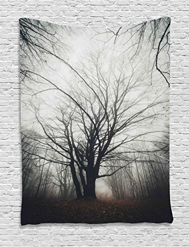 Ambesonne Nature Tapestry, Vertical Photo of Autumn Tree in Dark Haunted Foggy Mist Mysterious Forest Picture Print, Wall Hanging for Bedroom Living Room Dorm, 60 W X 80 L Inches, Grey -