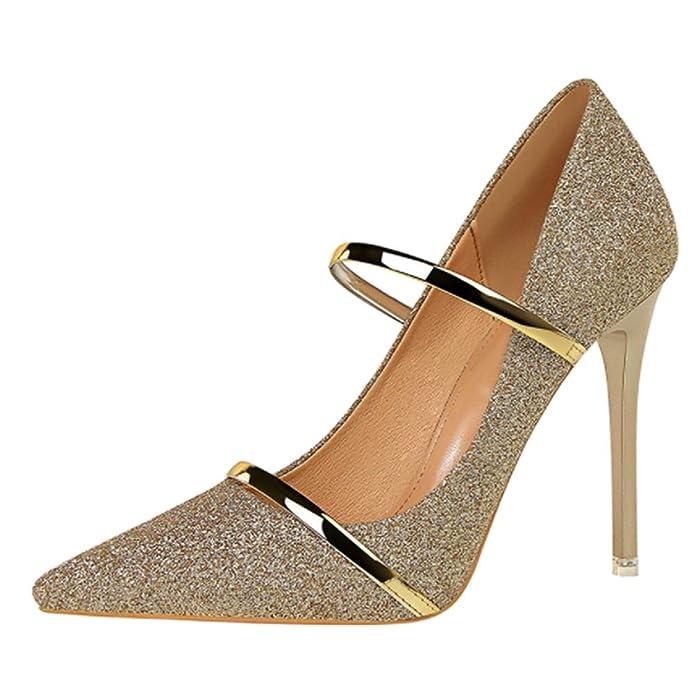Daytwork Mujer Moda Tacones Altos Puntiagudos - Mujer Zapatos de tacón Tacones Altos Boca Baja Tacones de Aguja Sexy Elegante Zapatos de Vestir