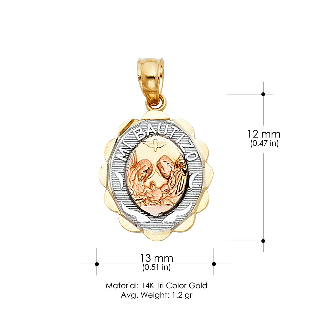 14K Tri Color Gold Baptism Religious Charm Pendant For Necklace or Chain Ioka