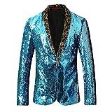 Mens Sport Coat Slim Fit Shawl Collar Sequins Dance Party Blazer Jacket