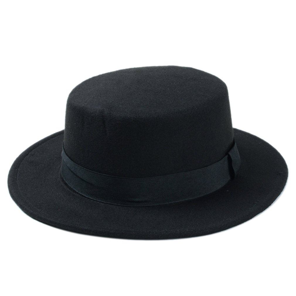 f729a57ad9a Elee Women Boater Hat Bowler Sailor Wide Brim Flat Top Caps Wool Blend  (Black) at Amazon Women s Clothing store