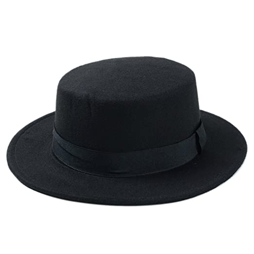 Elee Women Boater Hat Bowler Sailor Wide Brim Flat Top Caps Wool Blend ( Black) fcbbd93aaad9