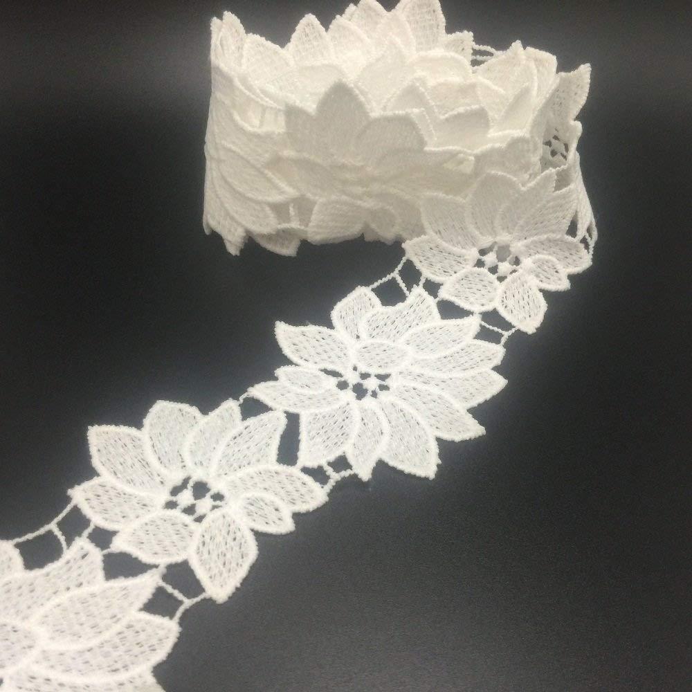 ELLA MAMA Crocheted Lace Trim DIY Craft Ribbon 2'' x 3yds, Flora Flower Pattern Thick Quality SUHAOLIN 4337031517