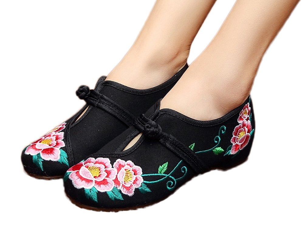 AvaCostume Women's Chinese Embroidery Peony Casual Walking Flat Shoes, Black, 41