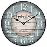Cheap Boston Harbor Blue Wall Clock, Available in 8 Sizes, Most Sizes Ship 2-3 Days, Whisper Quiet.