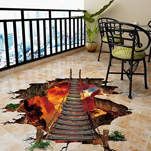 Rumas 3D Flaming Floor Stickers Living Room - 3D Wallpaper Murals Bedroom Kids Room - Art DIY Removable Wall Decals Decor Office Home Shop (Multicolor)