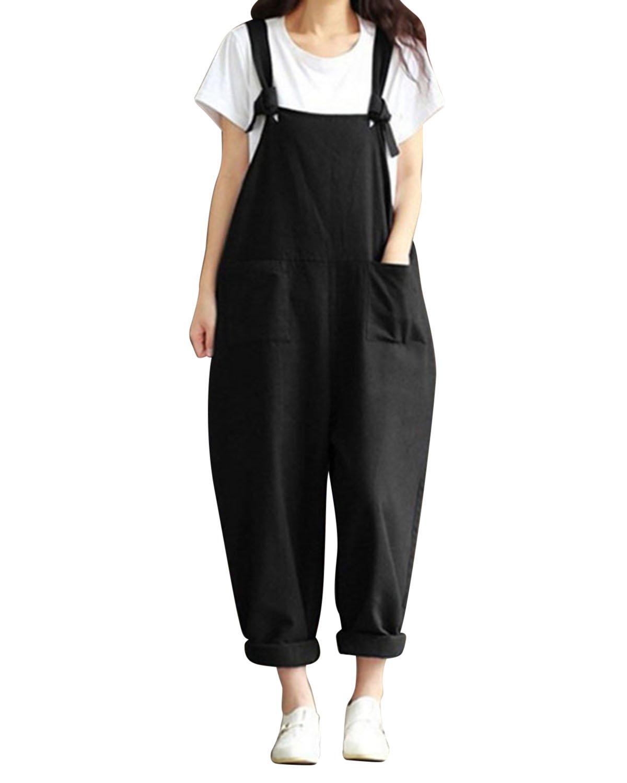 LVCBL Women Loose Overall Sleeveless Long Playsuit Jumpsuit Haren Trousers Pants Black L