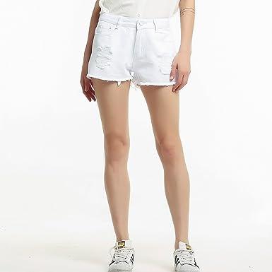 66ec70ffd3e9 Slim high-Waist hot Pants Large Size raw Edge Hole Denim Shorts ...