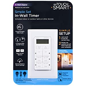 myTouchSmart In-Wall Digital Timer, 4 Programmable On/Off Buttons, 2 Easy On/Off Buttons, 24 Hour Daily Cycles, Blue LED Indicators, with Battery Backup, for Indoor/Outdoor Lights, Fans, 26893