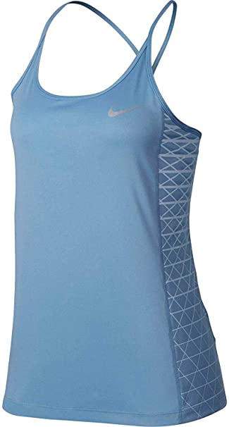 133184404085fb Nike Women s Dry Miler Graphic Running Tank Top (December Sky Hydrogen Blu