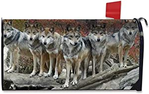 FEDDIY Fashion Mailbox Cover Mailbox Outdoor Decoration Magnetic Mailbox Cover Furniture Decoration Post Office Box Cover, Parcel Decoration Home Garden Outdoor 21.2X 18 Inches Stunning Wolf