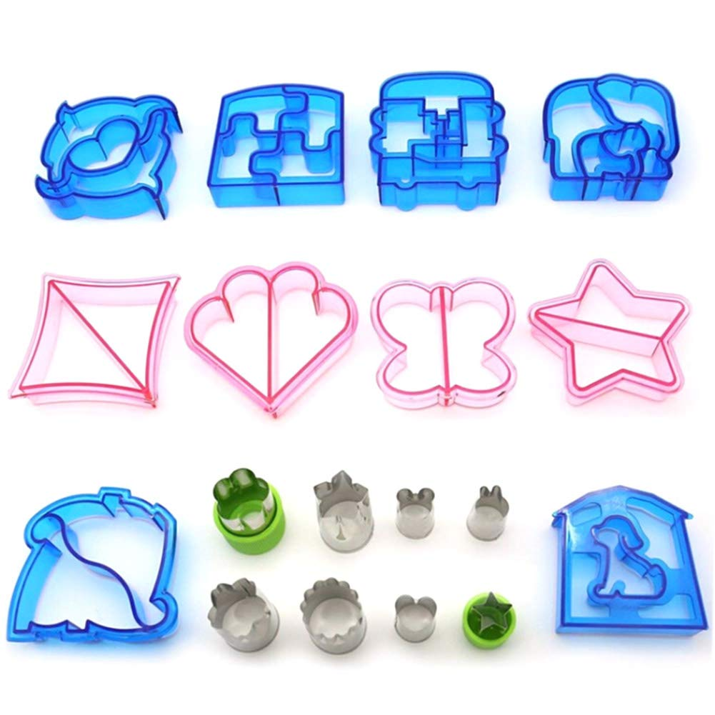 E-dance Sandwich Cutters for Kids Bento Lunch Box -10 Bread Crust Cutters and 8 Stainless Steel Mini Vegetables Fruit Cookie Cutters Cheese Press Stamp Set