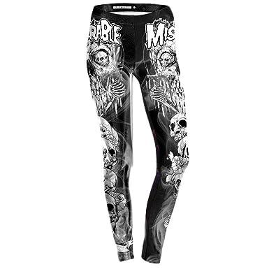 VJGOAL Moda Casual para Mujer Cráneo Digital Pantalones de Yoga ...