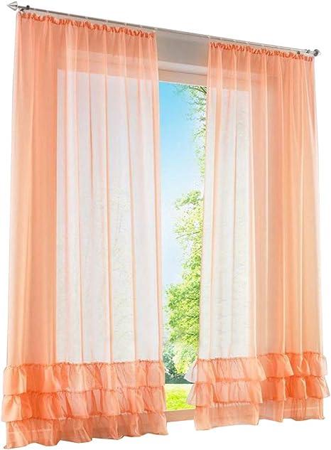 1er de Pack – Visillo fruncido cortinas con Pliegues transparente Voile Cortina, tela, naranja, BxH 150x225cm: Amazon.es: Hogar