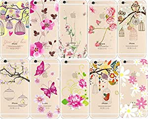 TopOne New Flower Pattern Transparent TPU Back Case Cover for iPhone 5 5S 5c 6 4 7 7 For iPhone 5 5s