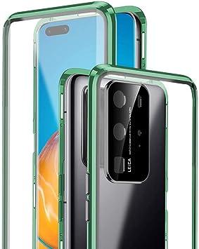 Funda para Huawei P40 Lite 5G Carcasa 360 Grados Protección Cubierta Funda Magnética Adsorption Bumper de Metal Cover Transparente Tempered Glass Case[Integrada Protector de Lente de Cámara],Verde: Amazon.es: Electrónica