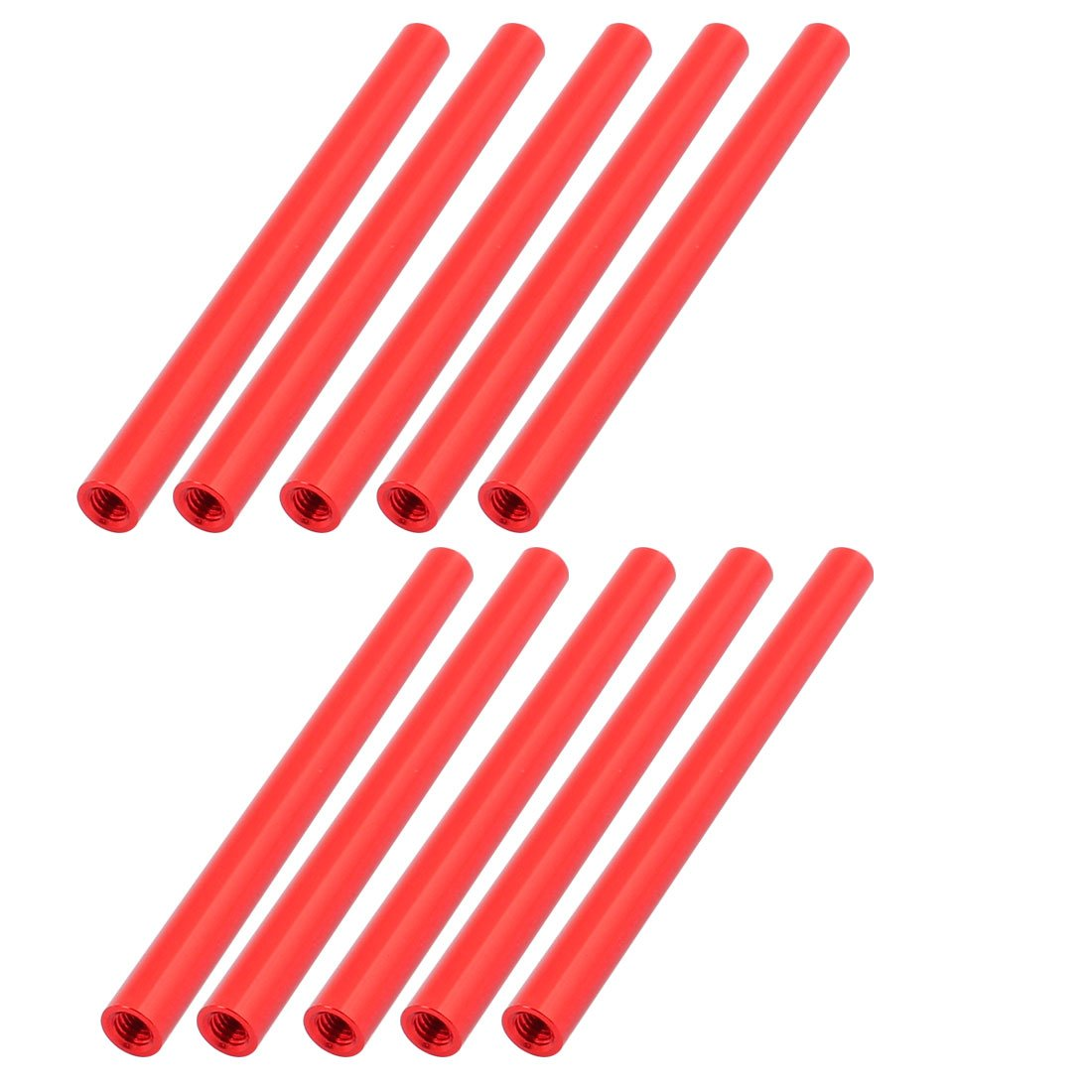 uxcell 10 Pcs M3 x 60mm Round Aluminum Column Alloy Standoff Spacer Stud Fastener for Quadcopter Red