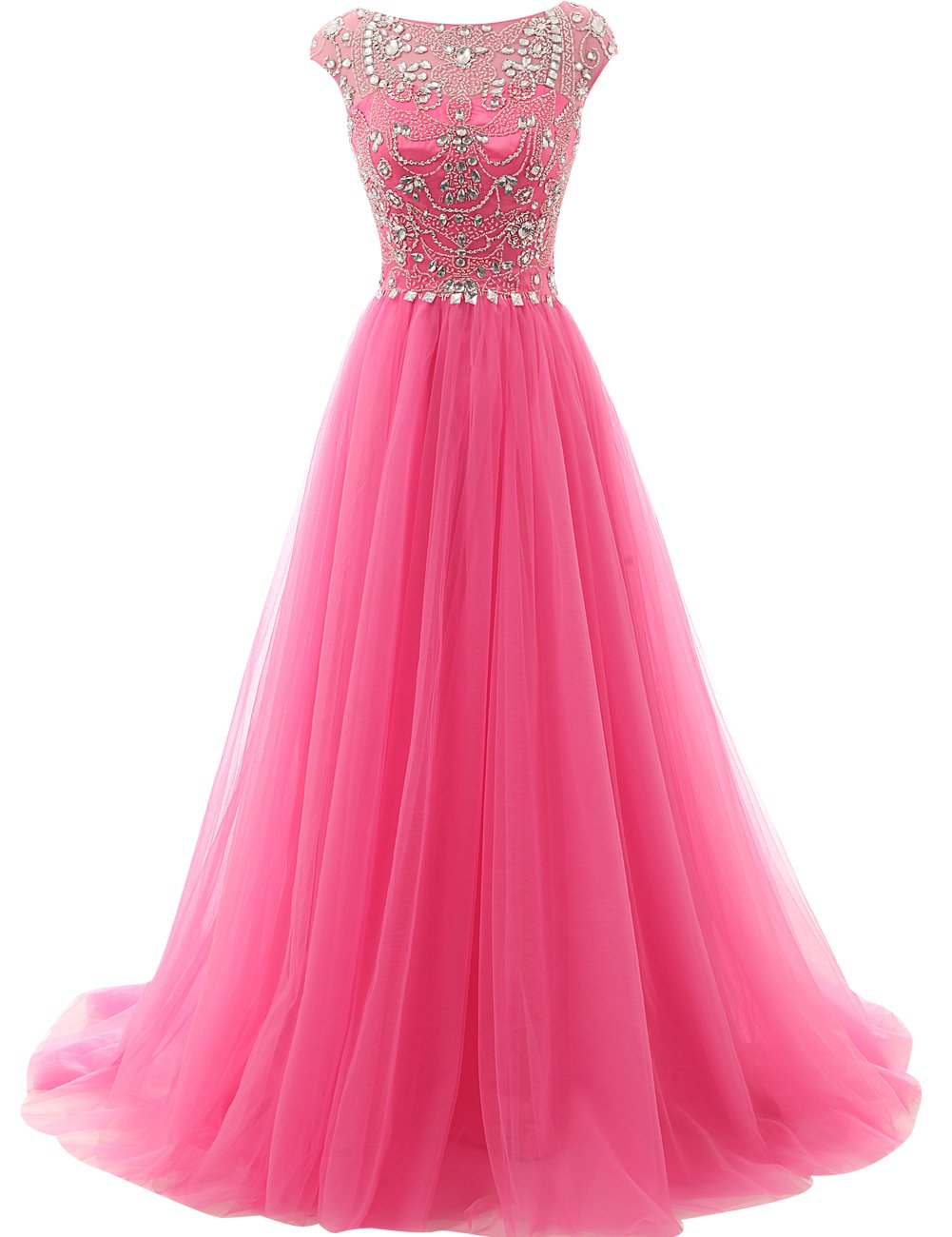 JAEDEN Crystal Evening Prom Dresses Long Quinceanera Dress Wedding Gown Hot Pink US22W