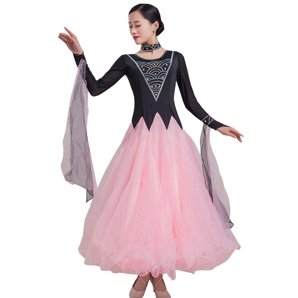 社交ダンス 衣装 レディース ワンピース ダンス ウエア タンゴ ダンスドレス ラテンワンピース 大きい裾 ワルツ タンゴ服 長袖 インターナショナルダンス スタンダードドレス 競技着 演出用 B07CFQMF4R  ピンク XL