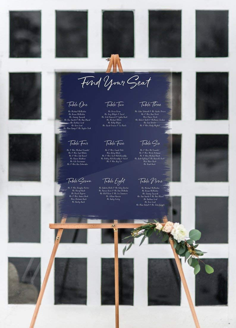 Modern Seating Chart Decoration Signs Clear Acrylic Wedding Seating Chart Signs Clear Painted for Wedding Display