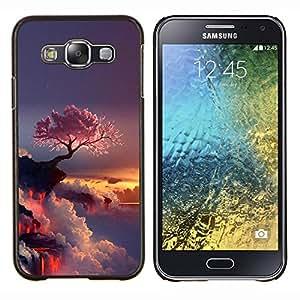 Púrpura Árbol japonés- Metal de aluminio y de plástico duro Caja del teléfono - Negro - Samsung Galaxy E5 / SM-E500