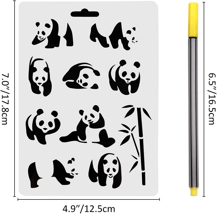 GORGECRAFT 13pcs Plastic Drawing Stencil Dog Paw Print Snowflake Lotus Flower Human Flower Bird akura Tree Animal Reusable Template 6x6inch for DIY Scrapbooking Craft Projects Stamping Album Card