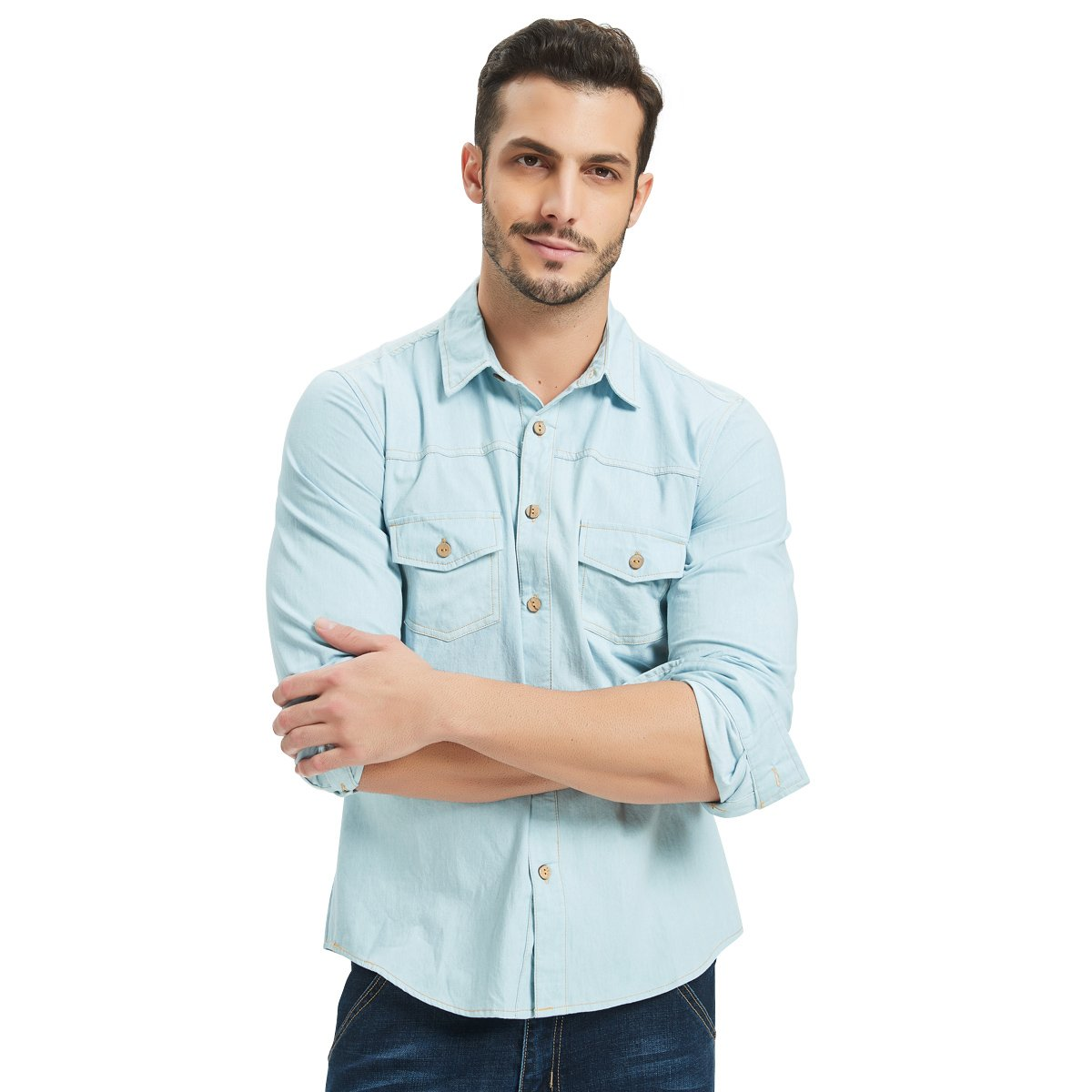 d854d7a8fc Men s Long Sleeve Denim Shirt 2 Pocket Button Down Casual Wear Faded Light  Blue at Amazon Men s Clothing store
