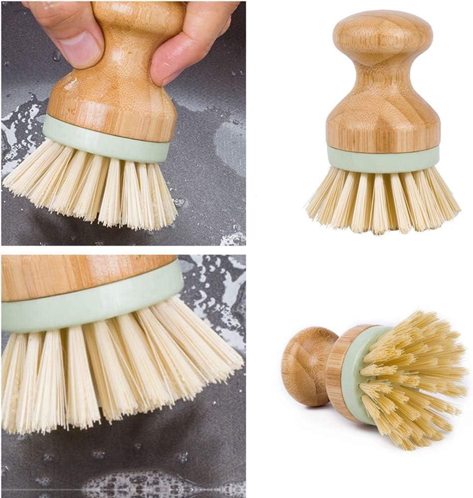 /évier de cuisine nettoyage domestique N//A Lot de 4 mini brosses /à r/écurer en bambou avec poils de noix de coco pour po/êles en fonte salle de bain